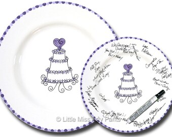 Free Shipping - Hand Painted Signature Wedding Plate - Pretty Wedding Cake  - Signature Wedding Plate - Guest book plate - Wedding gift