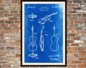 Blueprint Art of Violin, Musical Instrument Technical Drawings Engineering Drawings Patent Blue Print Art Item 0054
