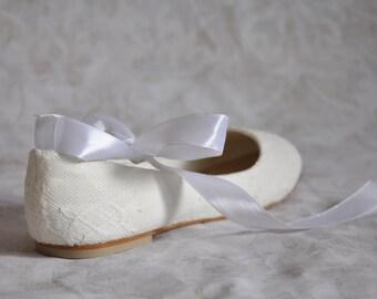 Wedding shoes lace wedding shoes flats pearl shoes ribbon to tie lace flats wedding flats shoes embellished shoes vintage wedding shoes
