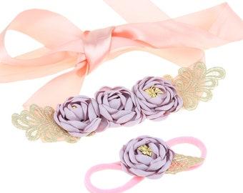 Flower Sash /Flower Girl Sash/ Bridesmaids Sash with headband