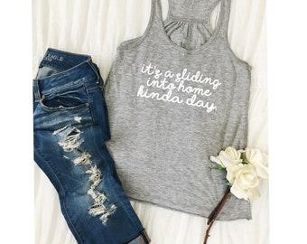 Baseball Mom Shirt/Women's Baseball Shirt/Baseball Mom/Bella Tank/It's A Sliding Home Kinda Day