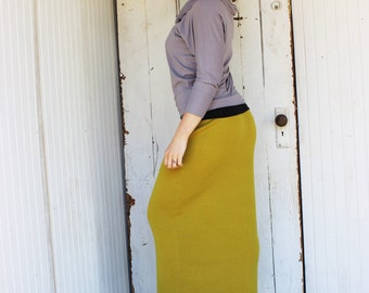 SALE - 100% Wool Long Pencil Skirt - One of a Kind - Recycled Upcycled - Eco Fashion - Yellow Ochre - Maxi - Handmade in USA - Ready to Ship