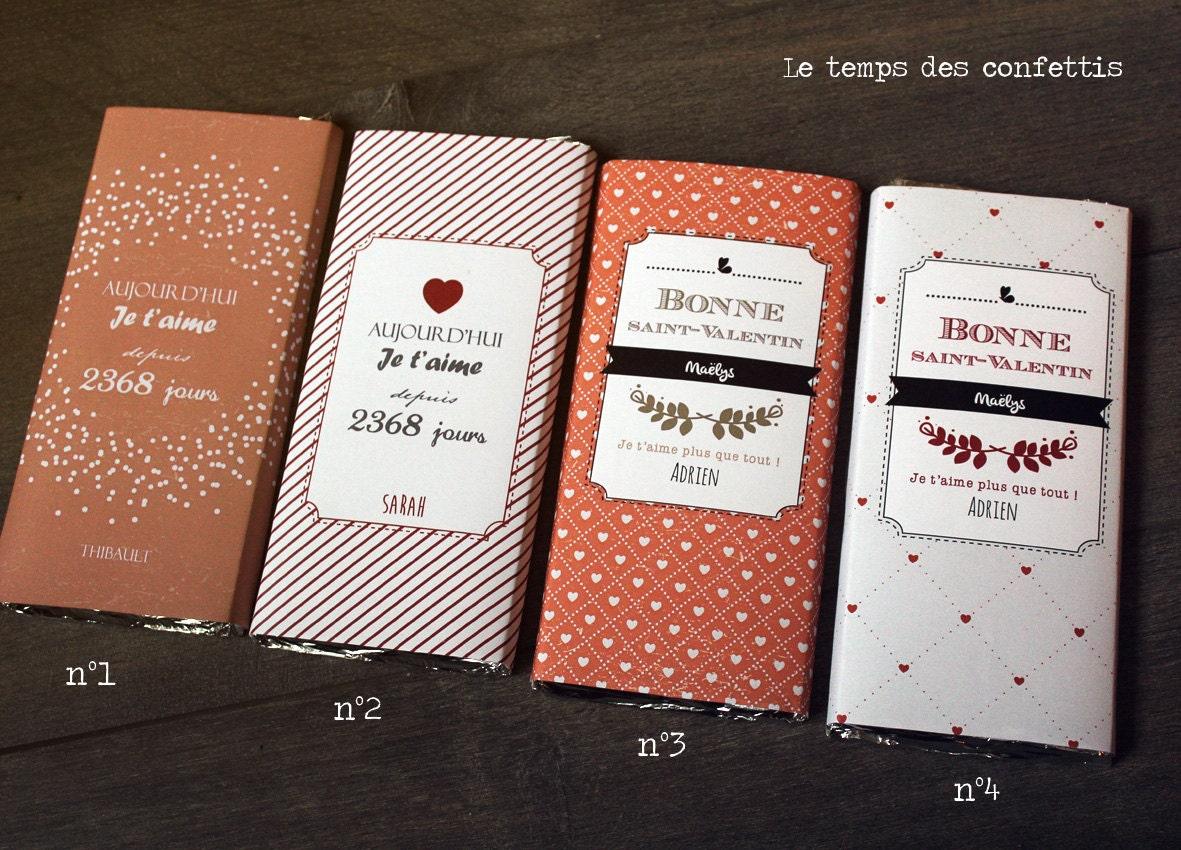 Tablette de chocolat personnalis e offrir votre amoureuse - Emballage tablette chocolat a imprimer gratuit ...