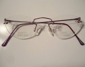 NOS Charmant Synthes Eyez Rimless Eyeglass Frames CH8402 Purple 140 Lot 17