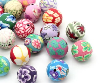 Set of 5 polymer beads, 12-13mm flower pattern