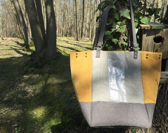 Mustard Tote and lin lamé silver