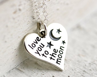 Love You to the Moon Heart Necklace - Sterling Silver Love You to the Moon Necklace - Heart Necklace - Love Necklace - Quote Necklace