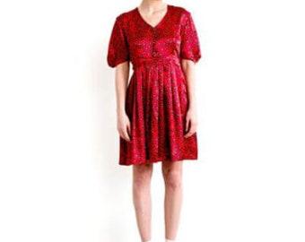 ALICE- Fiery Red Alice Print Silk Dress