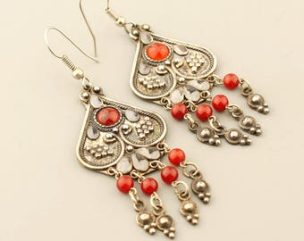 Sterling Silver and Carnelian Earrings, Long Silver Boho Earrings