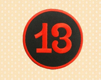 No.13 Number Thirteen Lucky Number Iron On Patch Embroidered Sew On Apllique DIY Jeans Patches