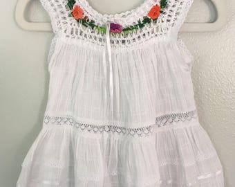Size 0 hand crochet cotton dress