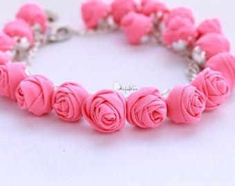 Fabric bracelet Rose bracelet Pink textile bracelet Fabric jewelry Flower bracelet Floral jewelry Clusters bracelet Friendship bracelet