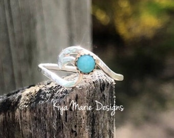 Silver & gold wave ring, Amazonite Ring, argentium silver wave, shark dolphin fin ring, ocean jewelry, sea waves ring, beach jewelry ring