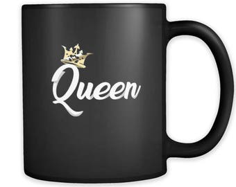 Queen Mug - crown black ceramic 11 oz mug