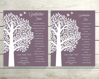 Godparents Prints | Godparent Gift Christening | Gift For Godparents | Personalized Godparents Gift - 22077P