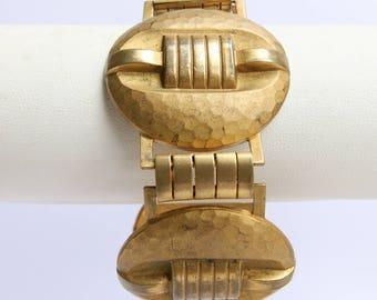 Stunning Handmade Hammered Detail French Bracelet c.1940s