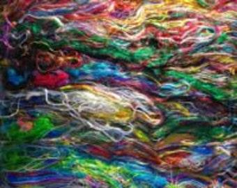 Recycled Sari fiber batt- Seidenfasern aus indischen Saris zum Spinnen, Filzen ,Basteln