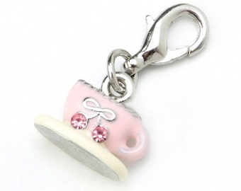 Tea or Coffee Cup Charm With Lobster Claw Clasp Mix and Mingle Carded Charm