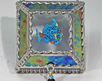 Fish, treasure box, , Souvenir Box, Memorabilia Case, Stained Glass, Stained Glass
