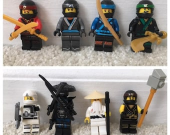 NINJAGO Set of 8 Minifigures. Perfect for Party Favors or Cake Decorations. Includes Lloyd Cole Jay Sensei Wu Garmadon and more.