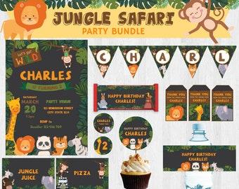 Animal Zoo/ Jungle Safari/ Animal Safari EDITABLE Birthday Party Bundle/ Party Set/ Party Kit Printable