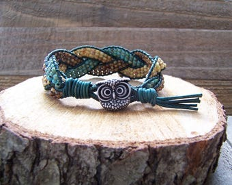 Rustic Owl Beaded Braided Leather Wrap Cuff Bracelet, Beaded Leather Bracelet, Owl Jewelry, Leather Jewelry, Rustic Cuff, Owl Bracelet