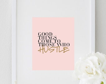Inspirational Print Hustle Typography Motivational Print Office Art Quote Poster Print Inspirational Wall Decor inspirational quote