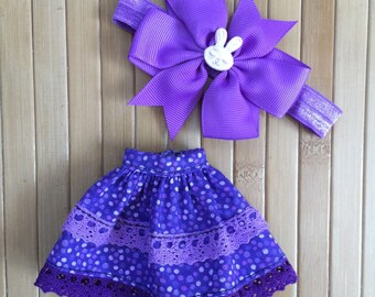Skirt and Headband Set for Neo Blythe - Purple Bunny