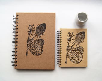 Teasel & Pinecone- Lino Print A5 Hardback Notebook Hand-Printed