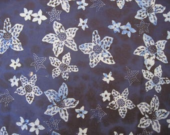Batik  light and dark blue flowers and stars 2 yards