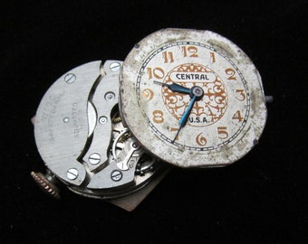 Vintage Antique Watch Movements with dials faces Steampunk Altered Art TM 103