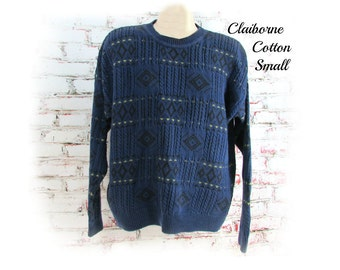 vintage Men Sweater - casual  sweater -  blue sweater,comfy sweater -    Size small  # 58