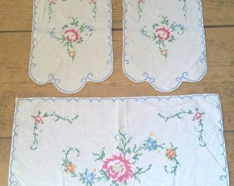 Set of Three Vintage Hand Embroidered Dresser Runners.  Hand Embroidered Table Runner. 1940s Cross Stitch Table Runners. Lot of Linens.