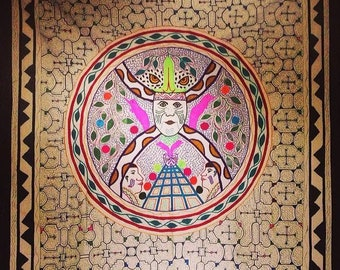 Large OOAK hand painted + embroidered Indigenous Shipibo tapestry altar cloth Ceremony medicine jaguar shaman peru ayahuasca herbs healing