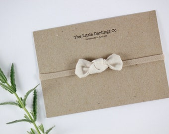 Hand Tied Hair Bow Linen Cotton Mini in Natural // Clip or Band