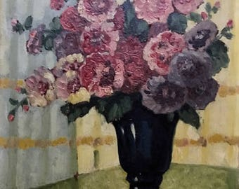 Black vase with flowers (antique oil painting)