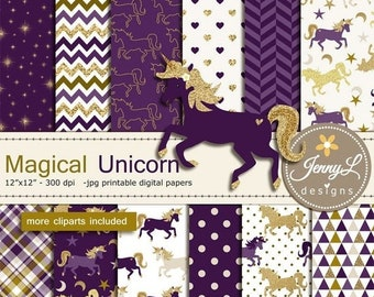 50% OFF Unicorn Digital Papers and Clipart SET, Gold Purple Unicorn Pegasus, Pony, for Digital Scrapbooking, Birthday Party, Invitations, Pl