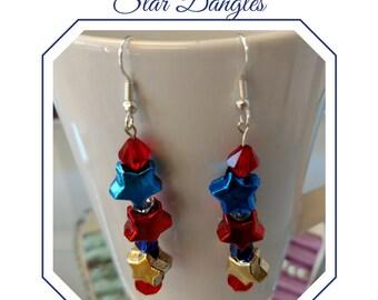 Patriotic Earrings, Red, Blue, Gold, Stars, Dangles