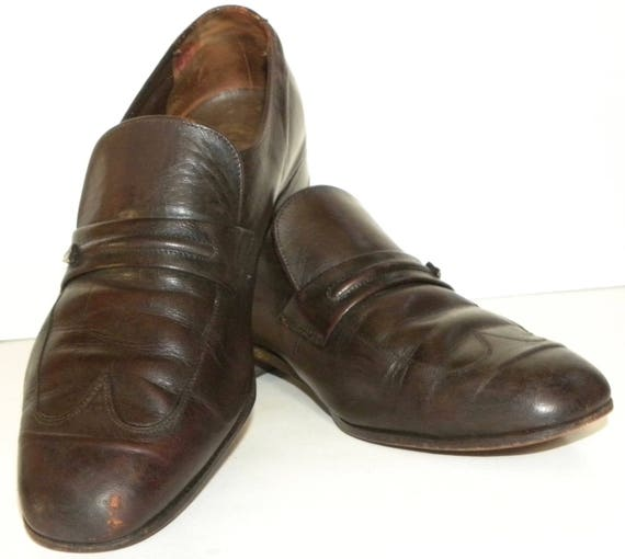 toe MOD Slip Shoes size Leather Oxford wing Preppie on with tip Women Men's 9 Vintage Brown Loafer Florsheim 7 size 7pzSqS