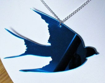 Blue Swallow Giant Statement Mirror Bird Necklace
