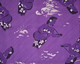 Vintage Hawaiian fabric novelty pinup girl playsuit top fabric Purple Hawaiian Hula Girl Ukulele tropical vintage Hoffman Fabrics Aloha