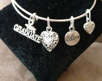 Expandable Handmade Silver Colored Bangle Charm Bracelet GRADUATE / GRADUATION
