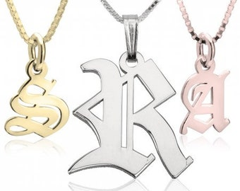 Initial Necklaces - Old English Font