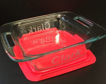 Bridal Shower Gift! Square Pyrex Baking Dish - 8x8 with Red Lid - Custom with Last Name