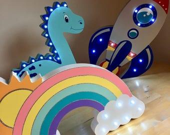 Wooden Hand Painted LED Night Light - Dinosaur