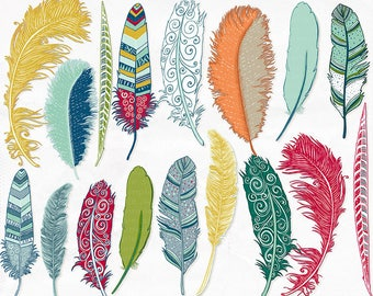 Colorful Feather Clip Art, Tribal Bird Feathers, Feather Silhouette ClipArt, Fanciful Notions, Commercial Use Graphic Download