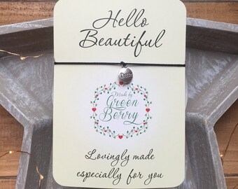 "Dream Tag charm String Bracelet on ""Hello Beautiful"" quote card madebygreenberry wish bracelet"