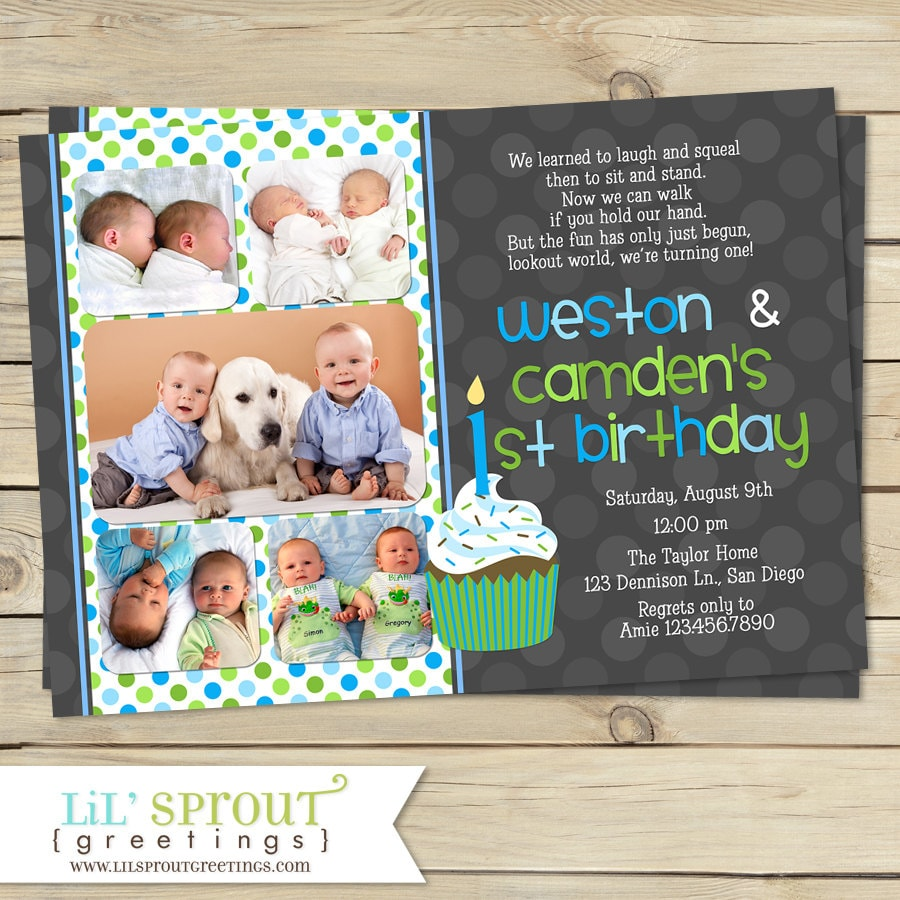 Twin first birthday invitation boy twin 1st birthday invite zoom filmwisefo Image collections
