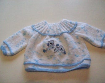 jacket or vest for baby: newborn, suitable for a doll reborn, heathered blue color