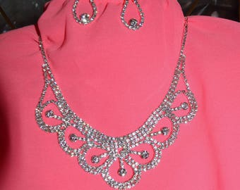 Bridal jewelry set, Necklace Choker Earring, Crystals, Costume Jewelry Wedding Set